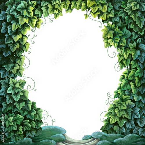 Frame for text decoration Enchanted Forest from green ivy and mo Fototapete