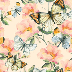 FototapetaWatercolor briar flowers and butterfly seamless pattern. Dog Rose branches in vintage style