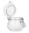 Leinwanddruck Bild Side view of an empty glass jar with open clip lid isolated on a white background