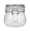 Leinwanddruck Bild An empty glass jar with clip lid isolated on a white background