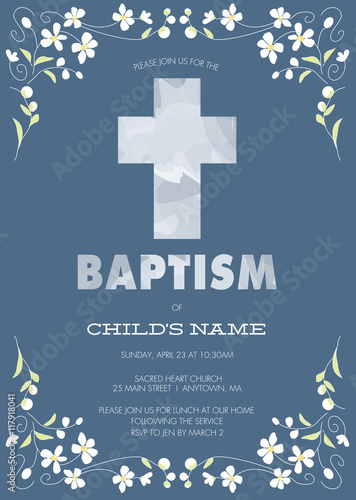 Tableau sur Toile Blue Boy's Baptism, Christening, First Communion, Confirmation Invitation with C