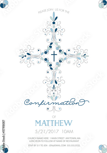 Boys Confirmation Baptism Or Christening First Holy Communion Invitation Template With Fancy Cross