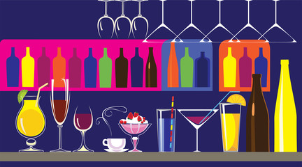 Fototapetavector illustration of bar, bottles, glasses, cocktails