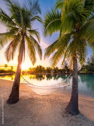 Foto Rollo Basic - Urlaub am Strand in der Karibik bei Sonnenuntergang