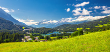 Panorama View To Lenzerheide Village With Haidisee, Arose Rothorn And Swiss Alps. Lenzerheide Is A Mountain Resort In Canton Graubunden, Switzerland.