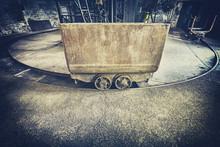 Retro Toned Old Rusty Mine Cart, Obsolete Mining Equipment.