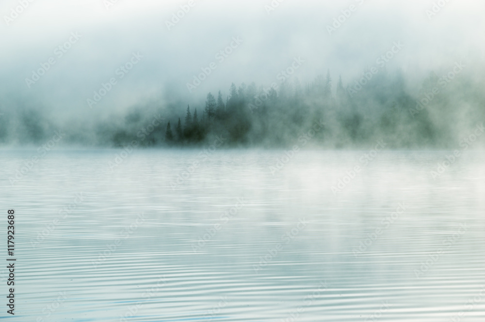 Fototapety, obrazy: Heavy fog in the early morning on a mountain lake Early morning on Yazevoe lake in Altai mountains, Kazakhstan
