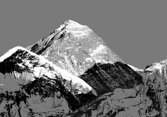 Fototapeta Krajobraz Abstract silhouette of Mount Everest from Kala Patthar