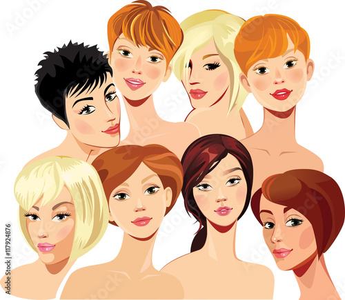 In de dag Kinderkamer portrait of face girls in straight