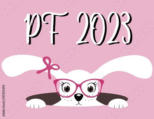 Poster  Happy New Year 2023. PF 2023. Chinese Year of the Hare.