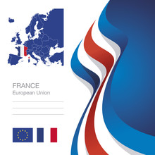 France European Union Flag Ribbon Map Abstract Background