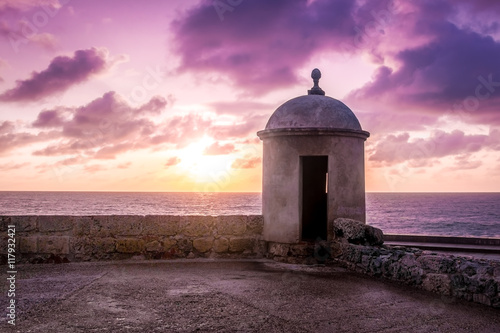 Recess Fitting South America Country Purple Sunset over Defensive Wall - Cartagena de Indias, Colombia