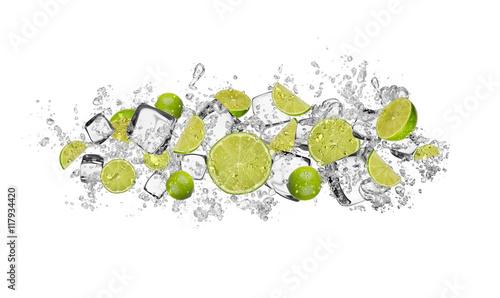 Poster Vruchten Lime in water splash on white background