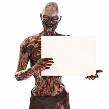 Zombie Undead Holding A Blank Advertisement Sign Card On A Isolated White Background With Room For Text Or Copy Space Event Advertisement. 3d Rendering