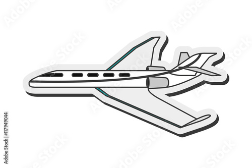 Fotografie, Obraz  flat design comercial airplane icon vector illustration
