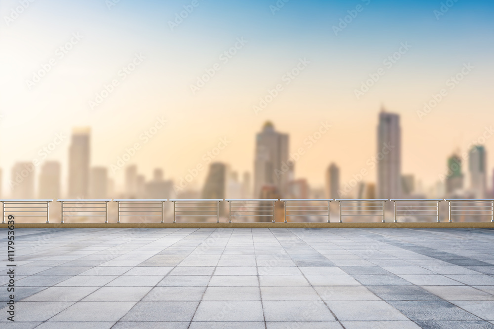 Fototapety, obrazy: empty roof top with cityscape background