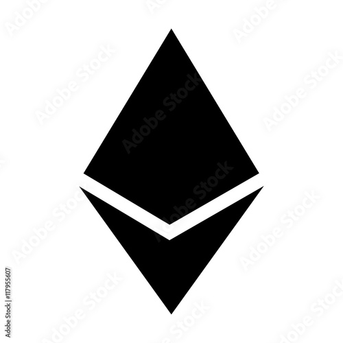Ethereum crystal or ether cryptocurrency flat icon for apps