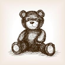 Teddy Bear Toy Hand Drawn Sket...