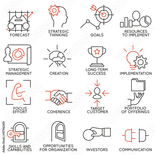 Cuadros en Lienzo  Set linear icons of business management, strategy, career progress and business people organization