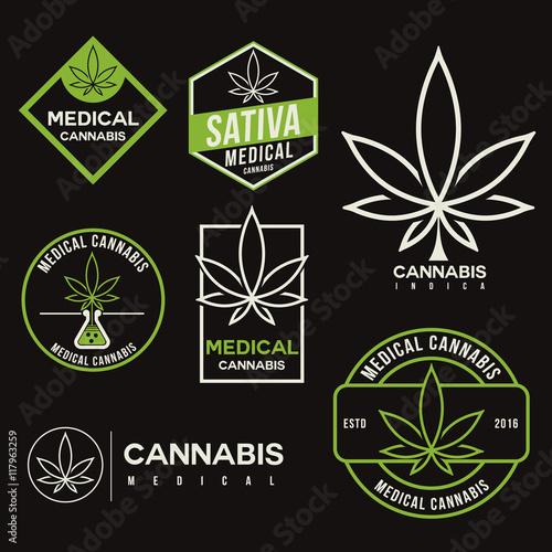 Photo set of medical marijuana cannabis logo template