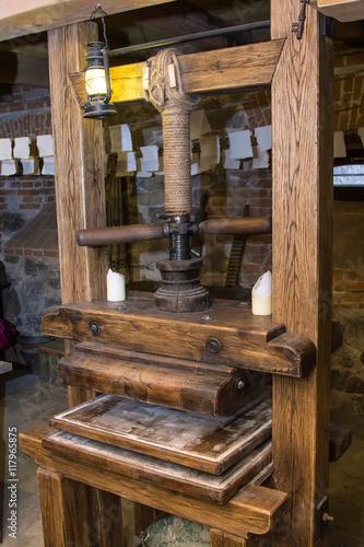 Fotografie, Obraz  Old typography printing machine