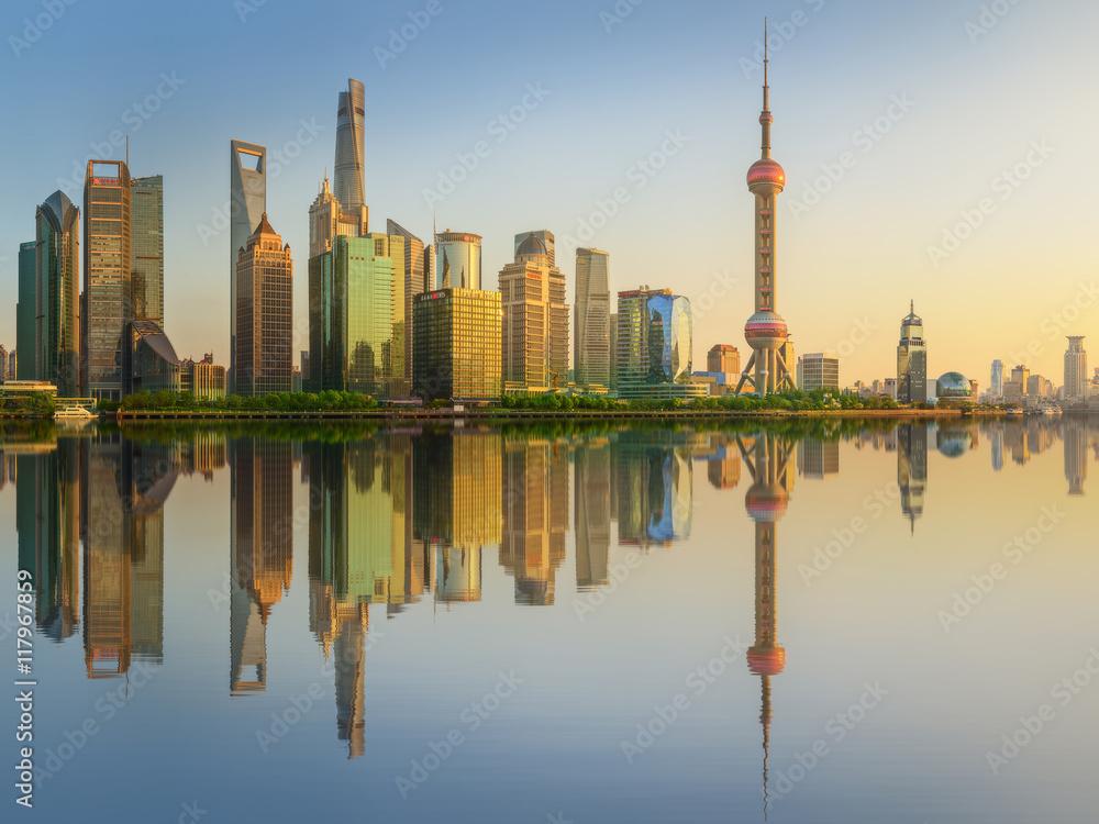 Photo Art Print Cityscape Of Shanghai And Huangpu River On Sunset