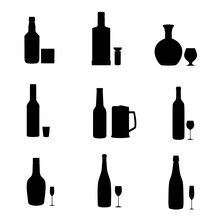 Silhouette Alcohol Bottles With Glasses.