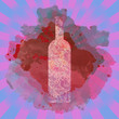 Wine tasting card, with colored bottle over a colored splash painted background. Digital vector image.