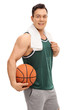 Young guy holding a basketball
