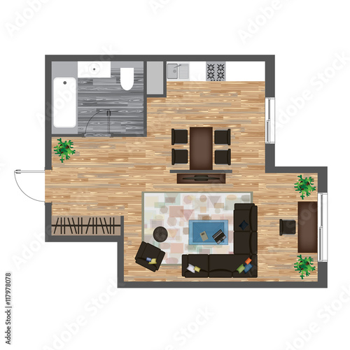 Studio Apartment Vector Illustration Top View Furniture Set Living Room Kitchen Bathroom Sofa Armchair Bed Dining Table Chair Carpet