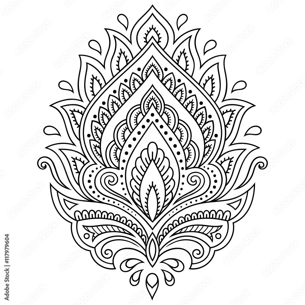 Photo Art Print Henna Tattoo Flower Template In Indian Style