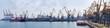 Leinwandbild Motiv Panorama of sea cargo port