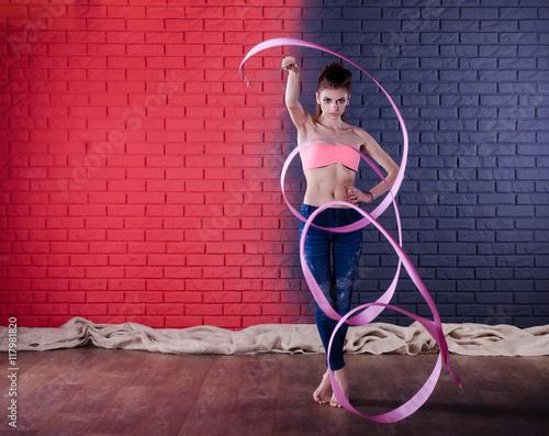 Tuinposter Gymnastiek Cute girl with ribbon