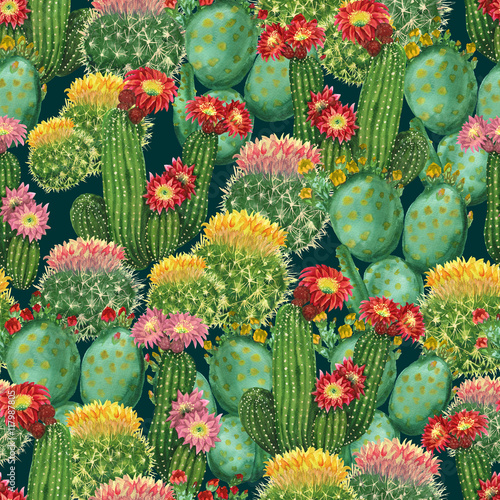 Cotton fabric pattern with blooming cactuses