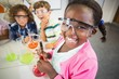 canvas print picture - Kids doing a chemical experiment in laboratory