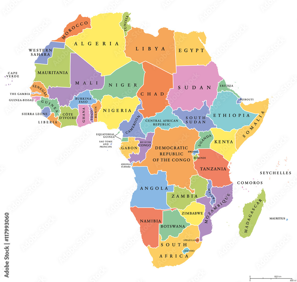 Fototapety, obrazy: Africa single states political map. Each country with its own color area. With national borders on white background. Continent including Madagascar and island nations. English labeling.