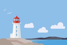 Flat Design Nova Scotia Landscape With Peggys Cove Lighthouse