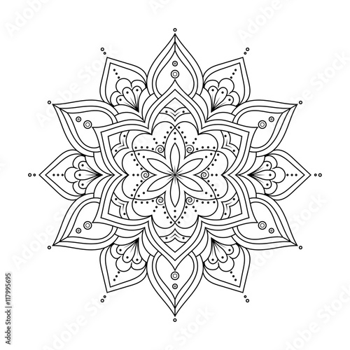 Outline Mandala for coloring book, anti-stress therapy pattern ...