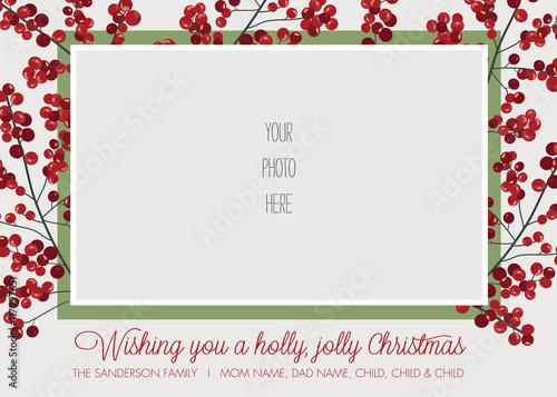 Fotografía  Holly Frame Photo Christmas, Holiday Card Template - Vector