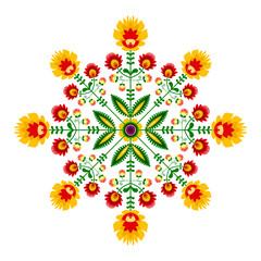 Polski folklor - okrągły wzór z kwiatów i liści