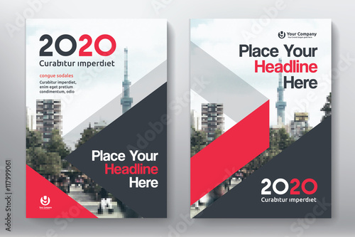 Business Book Cover Design Template : Red color scheme with city background business book cover