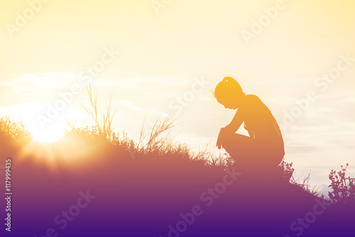 Fotografie, Obraz  silhouette woman knee down with her hands