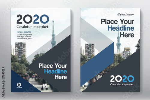 blue color scheme with city background business book cover design template in a4  easy to adapt