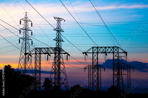Photo  Electric pole, High voltage post and sky in twilight time