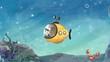 Niño en un submarino en el fondo del mar. Explorando el oceano con su mascota