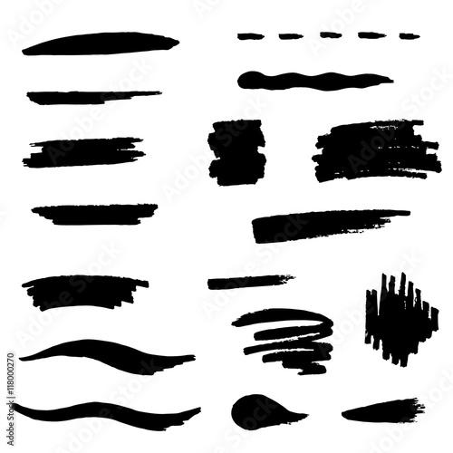 Fototapety, obrazy: Black brush stroke set illustration vector