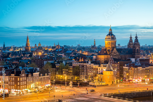Photo Stands Amsterdam Amsterdam skyline in night, Amsterdam, Netherlands.