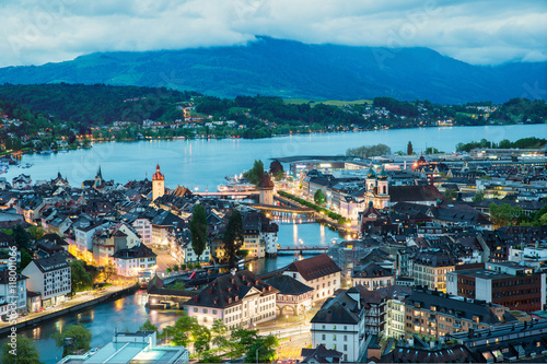Photographie  Aerial view of old town of Lucerne, Switzerland.