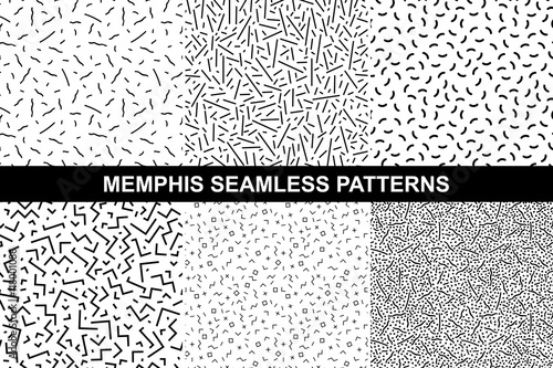Fototapety, obrazy: Collection of memphis patterns - seamless.