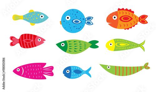 Cartoon baby fish set, vector illustration of a fish Tablou Canvas